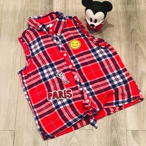 Justice Red and Blue tie Sleeveless Flannel Shirt